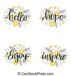 lettering, inscriptie, motivational, -, hand, vector, getrokken, samenstelling