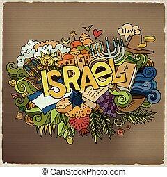 lettering, israel, elementos, mão, fundo, doodles