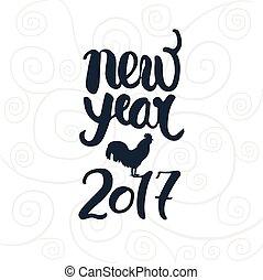 lettering, jaar, nieuw