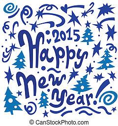 lettering, jaar, vrolijke , nieuw