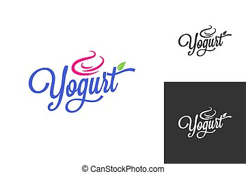lettering, jogo, congelado, vindima, fundo, yogurt, logo., ...