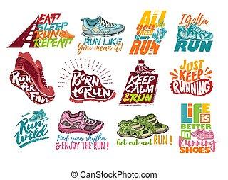 lettering, jogo, corrida, sapatos, inscrições, texto, isolado, treinadores, tipografia, executando, vetorial, sneakers, ilustração, fundo, sinais, divertimento, branca, ou, corredores
