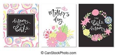lettering, jogo, illustration., mães, saudação, flowers., vetorial, cartões, dia, feliz
