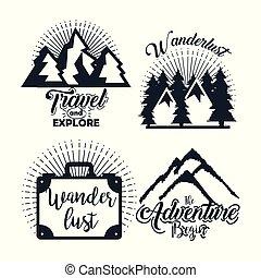 lettering, jogo, viagem, etiqueta, explorar, viagem, aventura, símbolo