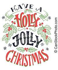 lettering, jovial, ter, holly, mão, natal