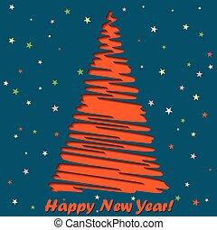 lettering, kaart, groet, illustratie, vector, jaar, nieuw, vrolijke