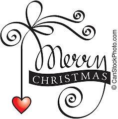 lettering, kerstmis, vrolijk, hand