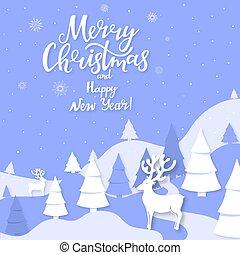 lettering, knippen, winter, bergen, hertje, groet, hand, spruce, papier, landscape, vrolijk, jaar, nieuw, uit, style., kerstmis kaart, vrolijke