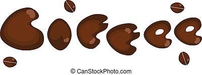 lettering, koffie bonen