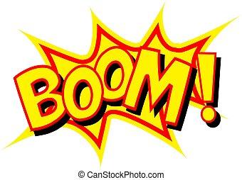 """lettering, komisch, """"boom"""""""