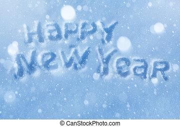 lettering, kunst, groet, jaar, nieuw, kaart, vrolijke