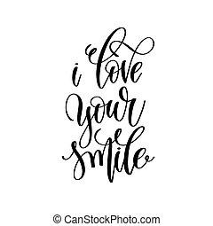 lettering, liefde, romantische, noteren, hand, glimlachen, jouw