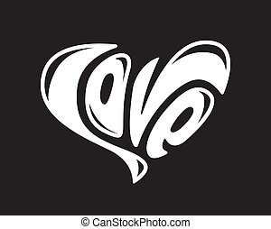 Lettering Love creative text logo element Valentines day