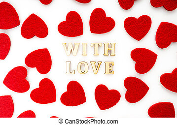 Lettering LOVE with red heart on white