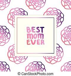 lettering, mães, texto, mão, ranunculus, dia, cartão