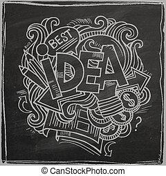 lettering, mão, chalkboard, idéia
