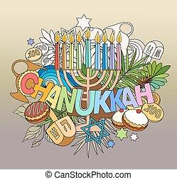 lettering, mão, doodles, elements., hanukkah
