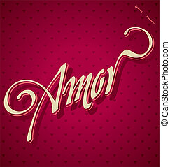lettering, mão, (vector), amor