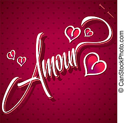 lettering, mão, (vector), amour