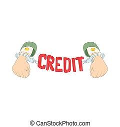 lettering, mãos, algemas, ícone, crédito