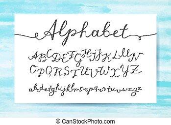 lettering, manuscrito, alfabeto