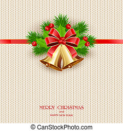 Lettering Merry Christmas with Golden Bells on Knitted Background