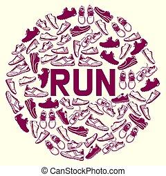 lettering, motivação, sapatos, texto, sinais, ir, silueta, flyer., treinadores, sneakers, corrida, cartaz, ilustração, executando, corredores, inscrições, mais rápido, tipografia, vetorial, calçado, concept., ou