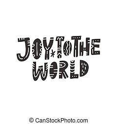 lettering, mundo, alegria