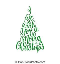 lettering, nós, citação, mão, feliz, desejo, tu, positivo, natal