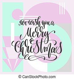 lettering, nós, inscrição, desejo, -, mão, feliz, tu, natal