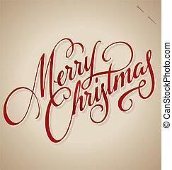 lettering, natal, (vector), mão