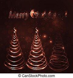 lettering, neon, vrolijk, boompje, kerstmis
