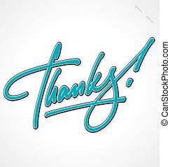 lettering, obrigado, (vector), mão