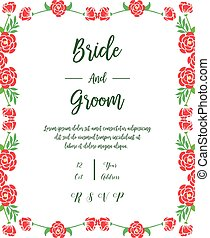 Lettering of bride and groom, with ornate of wreath frame. Vector