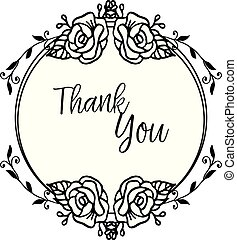 Lettering of thank you, for greeting cards, with decoration beautiful wreath frame. Vector