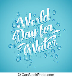 Lettering of Word day for waters on blue