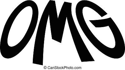 lettering, omg, oh, deus, vetorial, meu