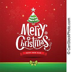lettering, ontwerp, kerstmis, vrolijk