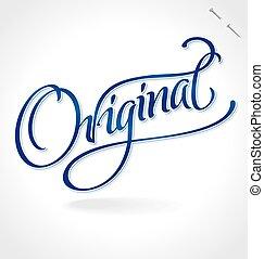 lettering, original, (vector), mão