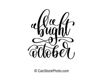 lettering, outubro, inscrição, -, luminoso, mão escrita