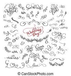 lettering, over, set, liefde, romantische, positief, valentines, moderne, illustratie, day., citaten, vector, borstel, trouwfeest, kalligrafie, ontwerp, met de hand geschreven