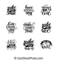 lettering, over, set, positief, leven, noteren, met de hand ...
