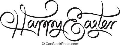 lettering, páscoa feliz, mão