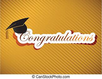 lettering, parabéns, -, graduação