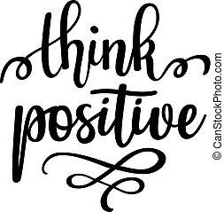 lettering, positief, motivational, vector, ontwerp, ...