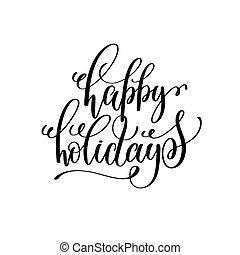 lettering, positivo, feriados, citação, mão, natal, feliz