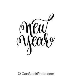 lettering, positivo, mão, citação, ano, novo, feriado, natal