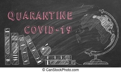Lettering Quarantine COVID-19, rotating globe and school books are drawn with chalk on a blackboard.