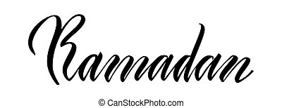 Lettering Ramadan isolated on white background.