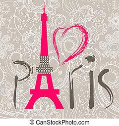 lettering, renda, paris, padrão, sobre, seamless